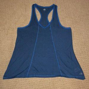 Blue striped racer back workout tank